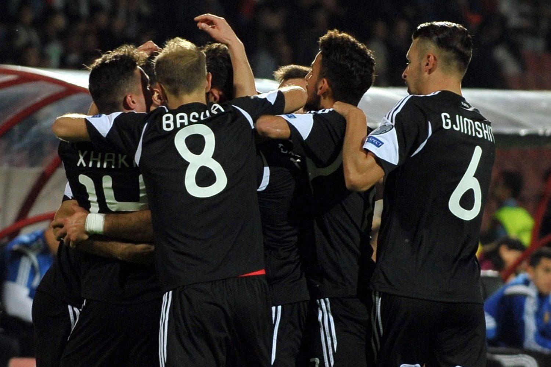 Albānijas futbola izlase līksmo par tikšanu finālturnīrā. Foto: UEFA.com